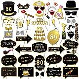 Konsait 80歳の誕生日写真ブース用小道具 (48個入り) パーティー写真用小道具キット ブラックゴールド装飾 スティック付き 男性 女性 80歳の誕生日装飾用品 誕生日パーティーアクセサリー