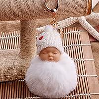 YipingクリエイティブキーリングGifts Plush BabyキーリングPurse Handバッグ車ペンダントキーチェーンギフト(ホワイト)