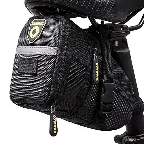 Raniaco 自転車 サドルバッグ ストラップ式 自転車バッグ 容量拡張 防水 ブラック (黒)