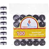 Mega Candles 100 pcs Unscented Black Tea Lights Candle, Pressed Wax Candles 3.5 Hour Burn Time, for Home Décor, Wedding Recep