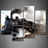 Framed Old Steam Trains Wall Art Painting Artwork Canvas Print Train Pictures For Home Office Decor