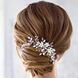 Unicra Bride Flower Wedding Hair Comb Crystal Bridal Silver Side Comb Pearl Hair Accessorie for Women and Girls