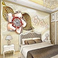 Sproud 大規模なカスタム壁紙ゴールド眼鏡ダイヤモンド花の宝石類のテレビの背景リビングルームベッドルームの装飾 430 Cmx 300 Cm