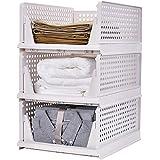 RAIN QUEEN 衣装ケース 整理箱 衣類 収納ボックス 整理ケース 引き出し 組み立て簡単 クローゼット用 ホワイ…