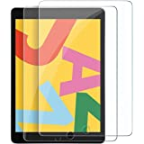 [2 Pack] Tempered Glass Screen Protector for Apple New iPad 7/8 (10.2-inch), Premium 9H Hardness HD 2.5D Case-Friendly Temper