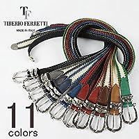 TIBERIO FERRETTI ティベリオフェレッティー レザー×コットン イントレチャート メッシュベルト 9018 (11colors)