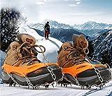 Soomloom 19本爪 スノースパイク アイゼン登山 雪山 氷 滑り止め 転倒防止 雪道や凍結道路 トレッキング クイックフィット (オレンジ, M)