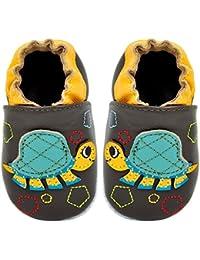 Kimi + Kai Kids Soft Sole Leather Crib Bootie Shoes - Turtle