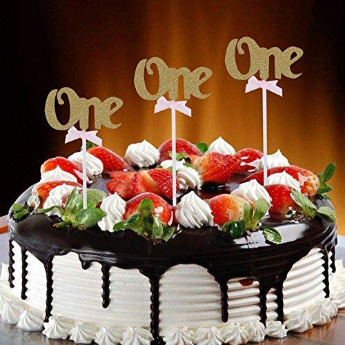 Demiawaking ケーキトッパー キラキラ 英語one 赤ちゃん誕生日 結婚記念日 パーティー ロマンチック ケーキ飾る用品(ゴルード)