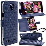 F.G.S Disney Mobile on docomo dm-02h ケース dm-02h カバー dm-02h 手帳型 保護ケース スタンド機能付き カードホルダ付き ストラップ付き ブルー F.G.S正規代理品
