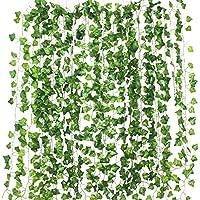 Formemory フェイクグリーン 観葉植物 アイビー 造花 藤 壁掛け 葉 グリーン インテリア 飾り ホーム オフィス ベランダ ガーデン 吊り 人工観葉植物 植物装飾 結婚式 パーティー 装飾 植物 (12本入れ)