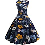 Womens 1950's Vintage Retro Short Sleeve Rockabilly Swing Dress
