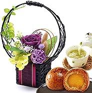 誕生日 プレゼント ギフト 和風プリザーブドフラワー 花とスイーツセット 和菓子 (かりんとう饅頭付・紫)