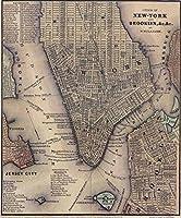 """「ヴィンテージNYCとブルックリンマップ( 1847)壁アートプリントby alleycatshirts @ Zazzle 16"""" x 19"""" 5633305_3_0"""