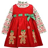 Bonnie Jean Holiday Christmas Dress - Red Corduroy Gingerbread for Baby, Toddler and Little Girls