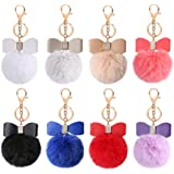 Auihiay 8 Pieces Fluffy Pom Poms Keychains Bow Rhinestone Pompoms keyrings for Car Bag DIY accessories