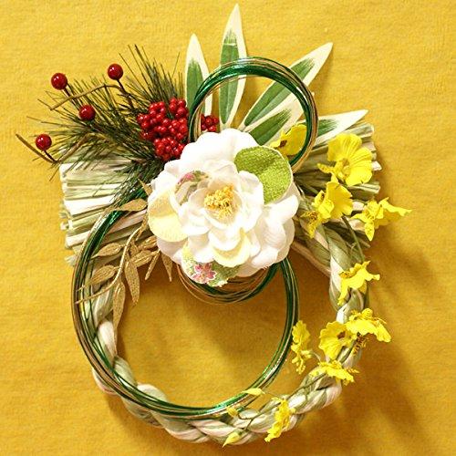 正月飾り 正月飾りちりめん椿・シルクフラワー(造花)お正月リース 【マーブルグリーン】 FL-NY-373MG-SM
