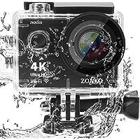 ZONKO アクションカメラ 4KフルHD高画質 1200万画素 2インチLCD 170度広角レンズ WiFi搭載 HDMI出力 スポーツカメラ 30メートル防水 2.4G無線リモコン付き バイク/自転車/車に取り付け可能 スポーツに最適 ウェアラブルカメラ 1050mAhバッテリー2個 付属品19個 (4Kカメラ)