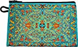 ペルシャ絨毯(トルコ絨毯)柄ポーチ(中)財布・iPhoneスマホケース (ライトブルー)