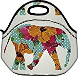 Schoolsupplies Flowers Elephant Insulated Neoprene Lunch Bag Tote Handbag Lunchbox Food Container Gourmet Tote Cooler Warm Pouch for School Work Office by School Supplies