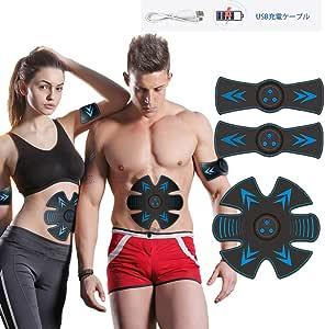 Emsマッスルスティミュレーター、ELEBOR エレクトリック腹部筋肉トナー(10本入り)ジェルパッド&USB充電、トレーナーフィットネスギアベルトーン用ジムトレーニングマシン