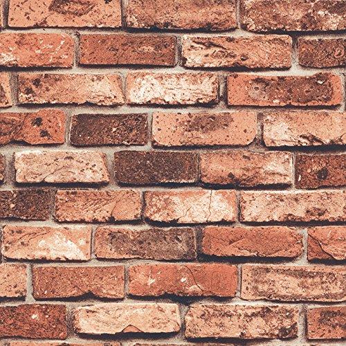 HaokHome 69090 DIY レンガ タイル ブロック赤壁紙 壁用 おしゃれ ブリックパターン  ストーン 3D 屋内 ベッドルーム装飾 53cm×10m