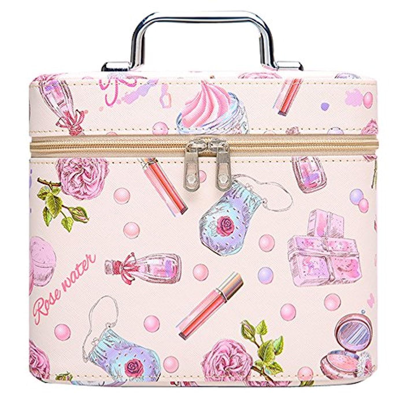 サーフィンエスニックパラシュートメイクボックス プロ 人気 コスメボックス 鏡付き 大容量 かわいい 化粧ボックス プロ 軽量 持ち運び (ピンク)
