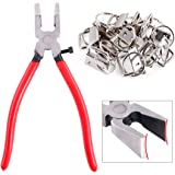 """Swpeet 32 Sets 1"""" 25mm Sliver Fob Hardware with 1Pcs Key Fob Pliers, Glass Running Pliers Tools with Flat Jaws, Studio Runnin"""