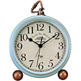 Justup Table Clock, Vintage Non-Ticking Table Desk Alarm Clock Battery Operated Quartz Movement HD Glass Bedroom Living Room