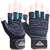 ARETE Gym Weight Lifting Fitness Gloves, Breathable Workout Gloves with Built-in Wrist Wraps, for Cross, Fitness, Bodybuildin