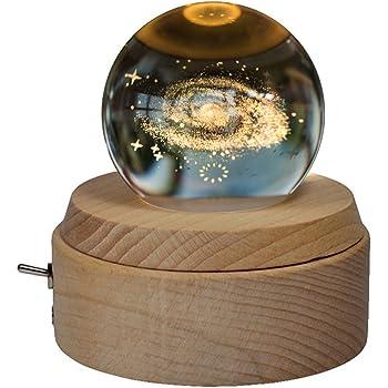 オルゴール 月のランプ 宇宙 クリスタルボール 誕生日プレゼント 間接照明 ベッドサイドランプ LEDライト USB充電 おしゃれ 木製 手作り 結婚記念日 結婚祝い 卒業祝い クリスマス プレゼント 女性 雑貨 かわいい オススメ 雰囲気 癒しグッズ 投影効果 曲目:君をのせて