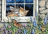 """ディメンジョンズ クロスステッチ 刺繍キット""""窓辺の子猫""""   Dimensions Counted Cross Stitch Kit  Feline Love  DIM クロスステッチキット Feline Love 【並行輸入品】"""