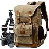 Camera Bag, Canvas SLR DSLR Camera Backpack Water Resistant DSLR SLR Camera Bag Mirrorless Camera and Laptop Backpack Photogr