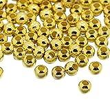 PandaHall 鉄製 メタル ビーズ 丸玉 ラウンド 金属 パーツ ジュエリー DIY用 ゴールド 2.5x2mm 約590個/10g