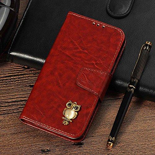 CUSKING Galaxy S4 手帳型 ケース、ギャラクシ S4 スマホケースPUレザー フリップ ノート型 ストラップ付き カード収納付き 保護ケース - ブルゴーニュレッド