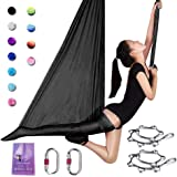 SAIVEN Aerial Silks-Aerial Yoga Hammock with Deluxe Yoga Swing Set for Yoga Trapeze, Flying Yoga, Aerial Dance(L:5m x W:2.8m)