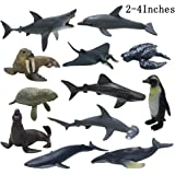 JOLLY SWEETS Sea Ocean Animals Pool Toys Bath Toys 12 Pack Set, Realistic Plastic Marine Figures toy, Sea Life Creature, Rubb