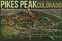 パノラマAerial View Of Pikes Peak and the Pikes Peak Region、コロラド州 12 x 18 Art Print LANT-23906-12x18