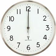 アイリスプラザ デザイン 掛け時計 電波時計 アルミ ホワイト 28cm OTI-07