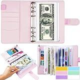 Budget envelopes,Budget Binder Cash Envelope Wallet,budget planning notepad,Pink PU leather A6 binder pocket cash envelope 12