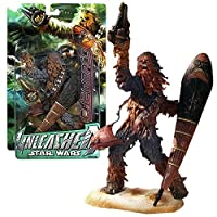 Hasbro Year 2005 Star Wars Unleashed Series 8 Inch Tall Action Figure - CHEWBACCA with Blaster, Shield and Display Base
