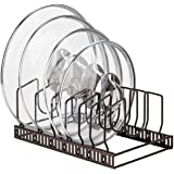 Toplife Adjustable Kitchen Lid Organizer, 7 Adjustable Compartments, for Pantry or Cabinet, Brown