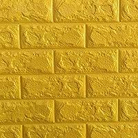 FOWOS 3D立体壁紙 DIYレンガ調壁紙シール 70x77cm ウォールステッカー 軽量レンガシール 壁紙シール 自己粘着 防水 多色選択 (厚い) (お得10枚セット, イエロー)