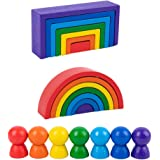 Toddmomy Wooden Rainbow Stacker Wooden Peg Dolls Stacking Game Nesting Puzzles Building Blocks Educational Toys Shape Matchin