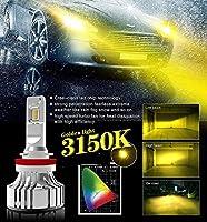 1年間保証!CARPARTSJP®最新デザイン LEDフォグ左右で黄色業界最高峰の12000LM LEDフォグランプ H8/H11/H16兼用フォグ H11イエローフォグ6 スバルBRZ イエロー3000k 黄色 Luxeon Flip Chipフォグ キット 30w 1年保証 (H8/H11/H16)