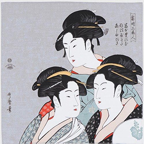 隅田川 48cm チーフ 綿100% お弁当包みに最適サイズ (寛政三美人 シロネズ)