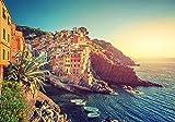 美しい海岸沿いの街、イタリア 風景の写真 キャンバス印刷アートポスター(40cmx60cm)