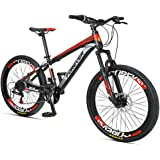 Kids Mountain Bikes, 24 Speed Dual Disc Brake Mountain Bicycle, High-Carbon Steel Frame, Boys Girls Hardtail Mountain Bike,Re