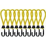 MOCOBO テント・タープ用 張り綱 ストレッチコード フック 黄色 ガイラインアダプター キャンプ アウトドア 10本組