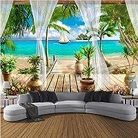 Lcymt カスタム3D写真の壁紙バルコニーサンディビーチシービュー3Dリビングルームのソファーベッドルームテレビの背景壁の壁画の壁紙家の装飾-120X198Cm